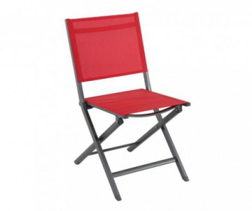 CHAISE PLIANTE CENSO ANTHRACITE/ROUGE 45X61X90CM