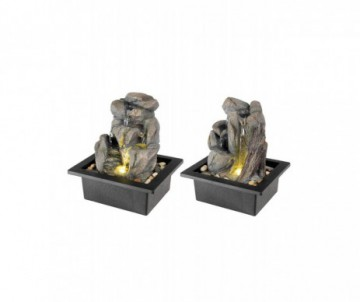 FONTAINE LED POLY ROCHER GRIS