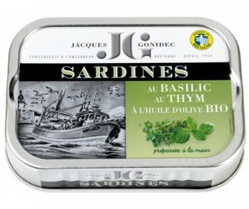 SARDINES HUILE D'OLIVE BASILIC THYM BIO
